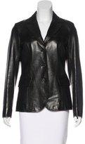 Prada Leather Notch-Lapel Jacket