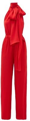 Roland Mouret Crossbill Hammered Silk-blend Jumpsuit - Womens - Red