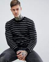 Asos Mohair Wool Blend Sweater With Contrast Stripes In Monochrome