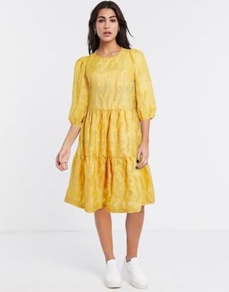 Vila textured oversized smock dress in yellow