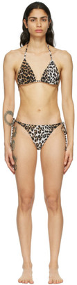 Ganni Black and Brown Recycled Leopard Bikini