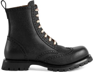 Gucci Leather brogue lace up boot