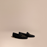 Burberry Rivet and Eyelet Detail Suede Loafers