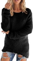 VintageRose Women Casual Fuzzy Mohair Scoop Neck Knit Pullover Sweater