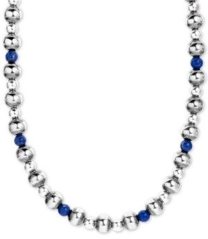 "American West Lapis Lazuli & Polished Bead Statement Necklace in Sterling Silver, 15"" + 2"" extender"