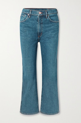 Gold Sign The Cropped A High-rise Straight-leg Jeans - Blue