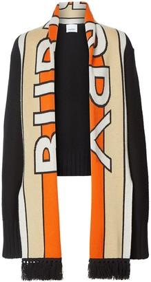 Burberry logo jacquard scarf detail cardigan