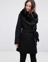 Oasis Faux Fur Trim Belted Coat