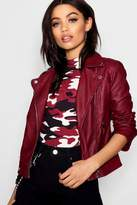 boohoo Faux Leather Biker Jacket With Quilt Detail