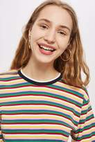 Topshop Long Sleeve Rainbow Striped T-Shirt