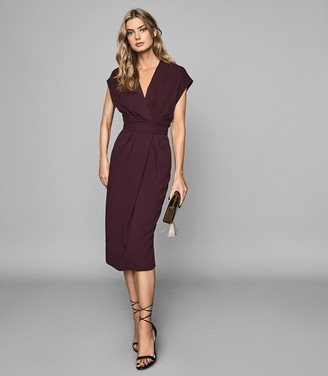Reiss Maxime - Wrap Front Slim Fit Dress in Burgundy