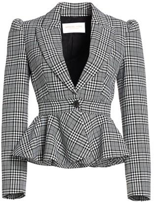 Michael Kors Plaid Virgin Wool Peplum Jacket