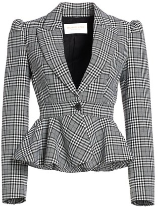 Michael Kors Plaid Virgin Wool Peplum Jacket