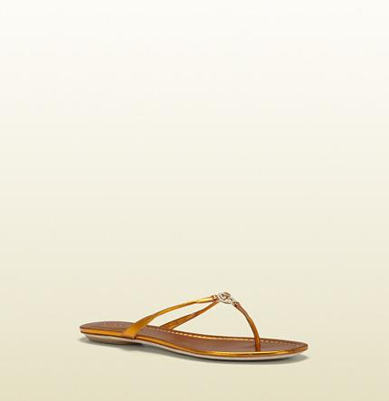 Gucci Elaine Mustard Metallic Leather Thong Sandal