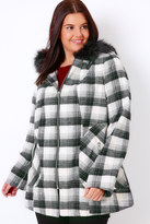 Yours Clothing Black & White Check Swing Coat With Faux Fur Trim Hood