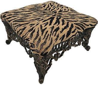 One Kings Lane Vintage Animal Print Stool with Ornate Base - Tobe Reed - base, bronze; upholstery, black/tan