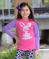 Beary Basics Lavender & Hot Pink Bunny Long-Sleeve Tee - Toddler & Girls