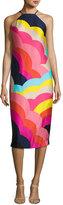 Trina Turk Vina 2 Sleeveless Abstract Satin Midi Dress, Multicolor