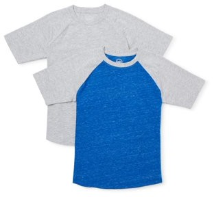 Wonder Nation Boys Raglan Short Sleeve T-Shirt 2 Pack Sizes 4-18 & Husky