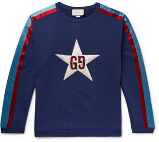 Gucci Logo-Appliqued Satin Twill-Trimmed Loopback Cotton-Jersey Sweatshirt