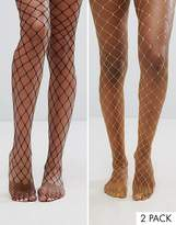 Asos 2 Pack Oversized Fishnet Tights In Black And Orange
