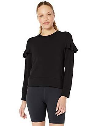 Core 10 Amazon Brand Women's Cloud Soft Yoga Fleece Ruffle Sleeve Crew Sweatshirt