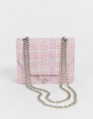 Asos Design DESIGN ring and ball cross body bag with chain strap in boucle-Multi