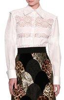 Dolce & Gabbana Frill Lace-Inset Poplin Shirt, White