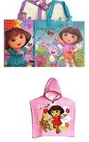 Nickelodeon Dora the Explorer Hooded Poncho Towel & Reusable Tote Bag