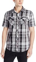 Southpole Men's Plaid Woven Short Sleeve Shirt with Contrasting Patterns