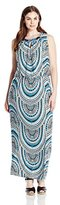 London Times Women's Plus-Size Disc Halter Maxi Dress