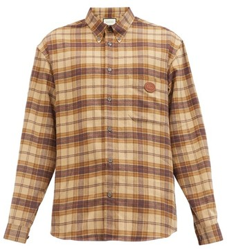 Gucci Leather-applique Checked Cotton-flannel Shirt - Brown