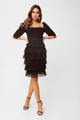 Little Mistress Cybil Black Square-Neck Tiered Shift Dress