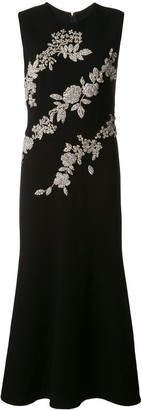 Oscar de la Renta Crystal-Embellished Fitted Dress