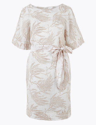 Marks and Spencer Linen Printed Mini Shift Dress