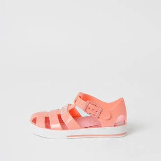 River Island Mini girls coral caged jelly sandals