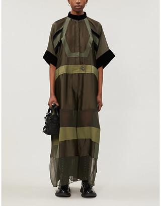 Sacai Band-collar semi-sheer woven jumpsuit