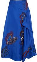 Roksanda Calda Embellished Appliquéd Silk Midi Skirt - Cobalt blue