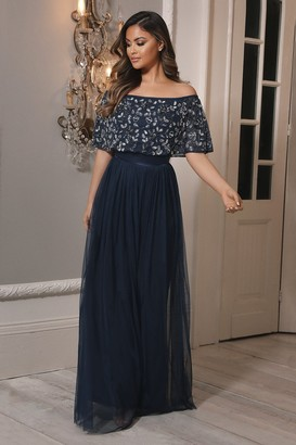 Sistaglam Iriana Navy off the shoulder maxi dress