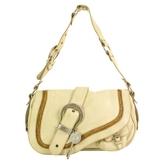 Christian Dior Cream Distressed Iconic Saddle Bag Medallion Handbag