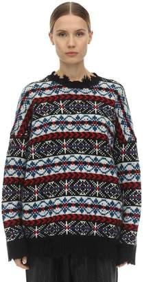 R 13 Distressed Wool Intarsia Knit Sweater