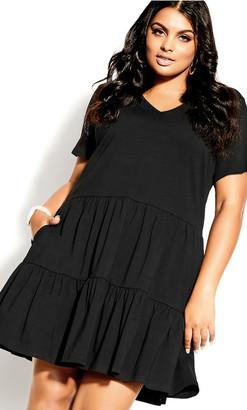 City Chic Social Tier Dress - black