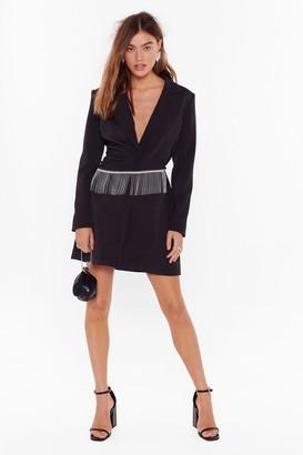 Nasty Gal Womens Look This Sway Diamante Fringe Blazer Dress - Black - 4