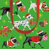 Caspari Christmas Pups Large Gift Bag