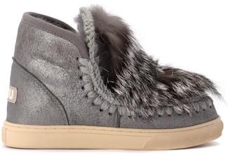 Mou Eskimo Sneaker Ankle Boot In Metallic Gray Sheepskin And Fur