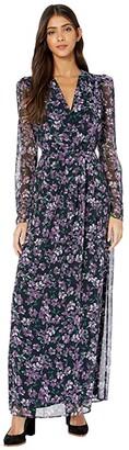 WAYF Celeste Long Sleeve Maxi Gown (Aubergine Jasmine Floral) Women's Clothing