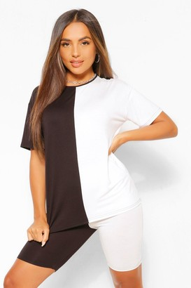 boohoo Petite Spliced T-Shirt and Cycling Shorts Co-Ord