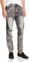 Southpole Men's Denim Pants Long with Patched Quilted Pattern Details On Side and Light Biker Details On Knee