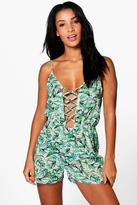 boohoo Erin Tropical Leaf Lace Up Beach Playsuit