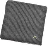 Lacoste Merino Wool Ribbed Scarf Grey